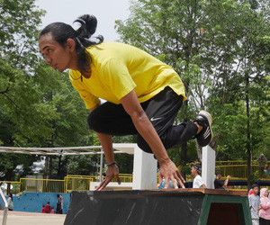 Taufan 'Dewa' Sudewa, a traceur who took the leap to build a parkour park in Jak...