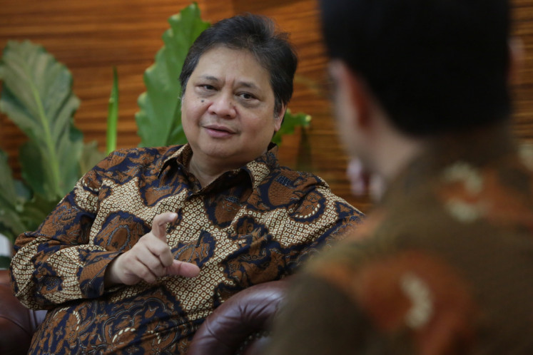Coordinating Minister for Economic Affairs, Airlangga Hartarto in Jakarta on Monday, February 24. 2020.