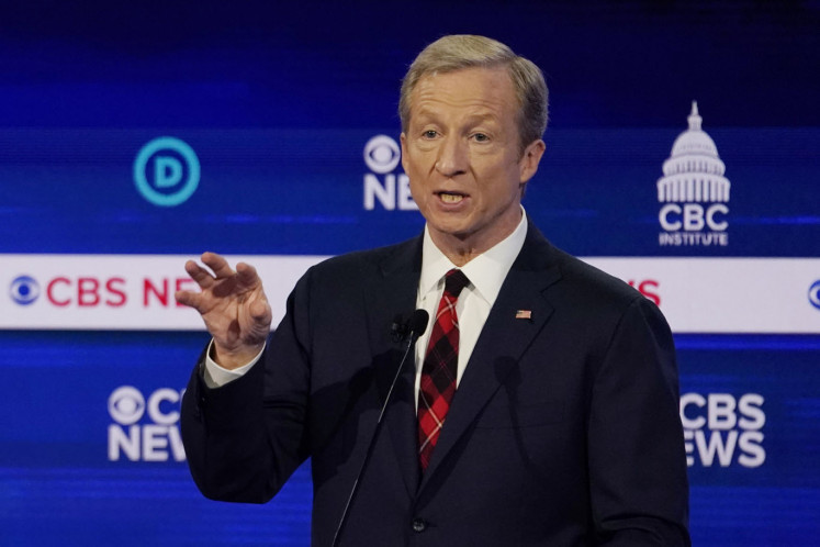 Democratic 2020 U.S. presidential candidate billionaire activist Tom Steyer speaks during the tenth Democratic 2020 presidential debate at the Gaillard Center in Charleston, South Carolina, U.S., February 25, 2020.