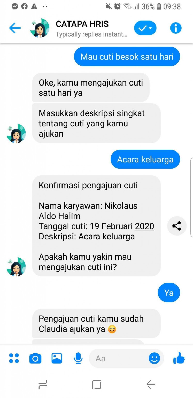 Cloudia, the first HR chatbot which uses the Indonesian language in the country, created by Catapa