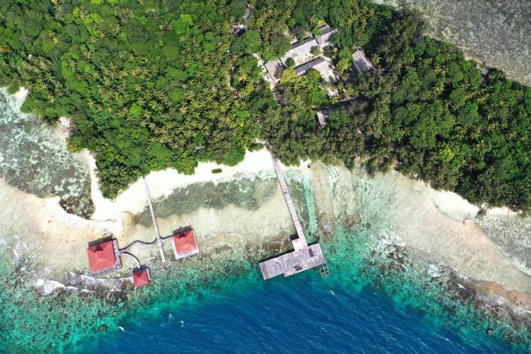 Aerial photo of Sebaru Kecil Island in the Thousand Islands, Jakarta, Monday (2/26/2020).