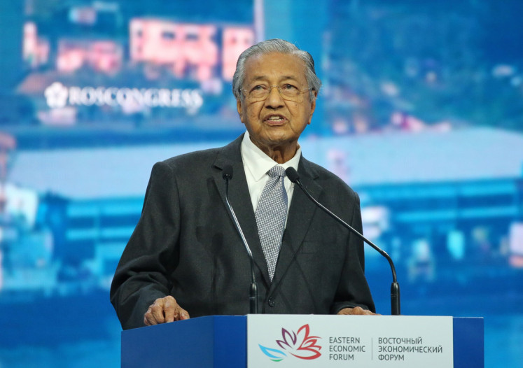 Mahathir Mohamad, Malaysia's prime minister, speaks during a plenary session on day two of the Eastern Economic Forum in Vladivostok, Russia, on Thursday, Sept. 5, 2019.