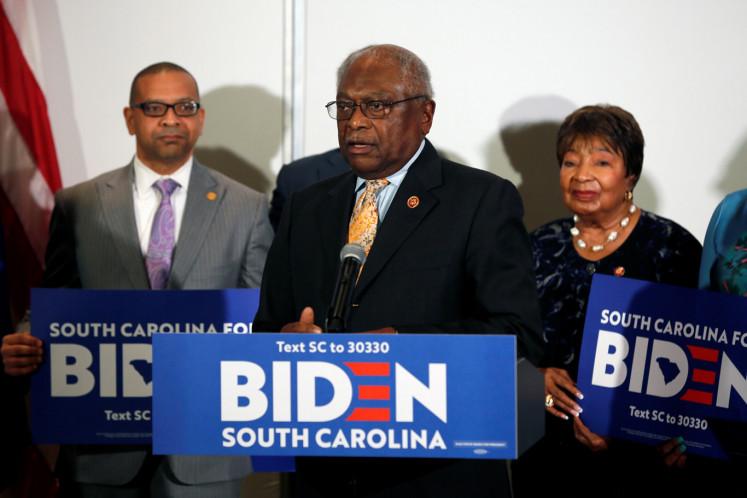 Rep. James Clyburn announces his endorsement of Democratic U.S. presidential candidate and former U.S. Vice President Joe Biden in North Charleston, South Carolina, U.S., February 26, 2020.