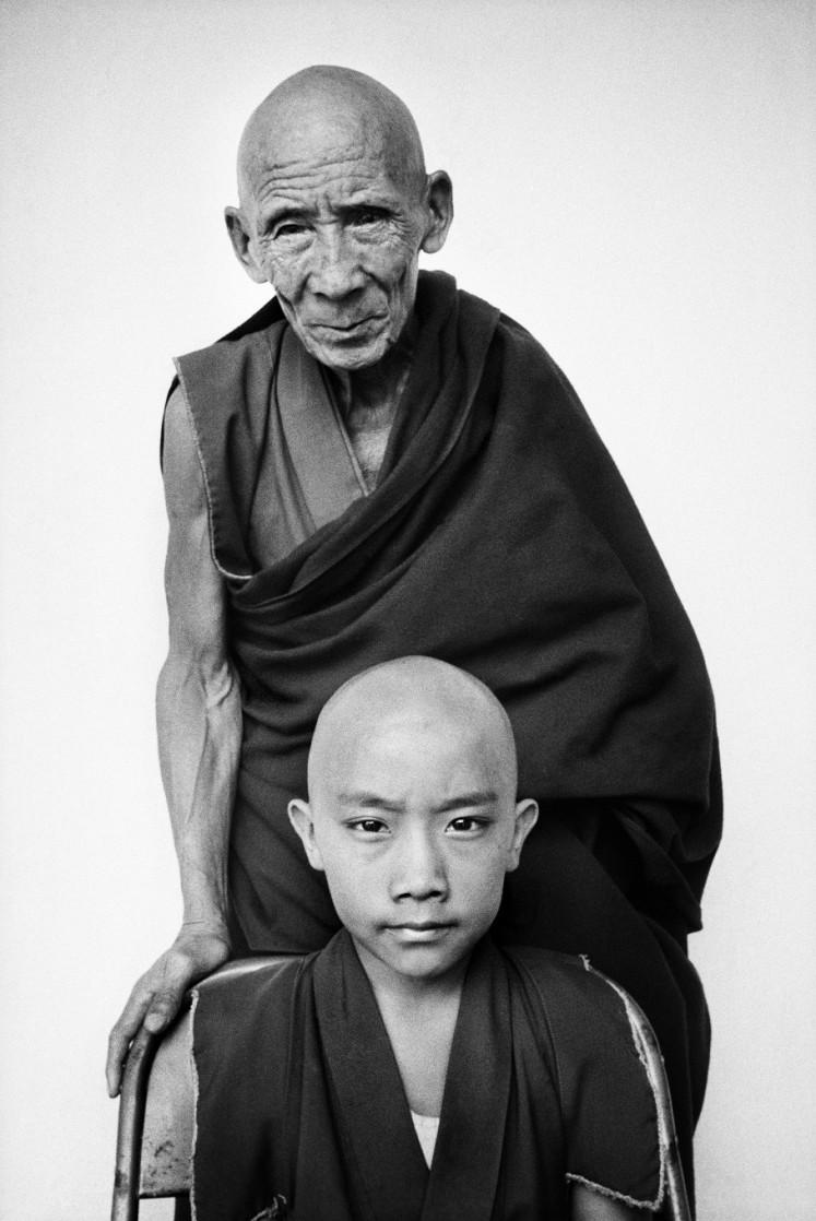 'Tenzin Tosan Rinpoche with his tutor Gen Pagdo, Rato Monastery, Karnataka State, India, 1996.'