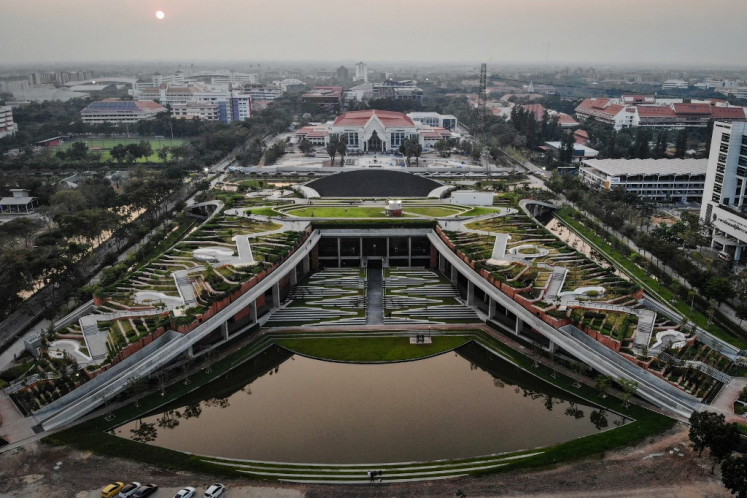 This aerial photo taken on February 7, 2020 shows an overview of the Thammasat Urban Farming Green Roof, designed by landscape architect Kotchakorn Voraakhom, at Thammasat University in Pathum Thani.