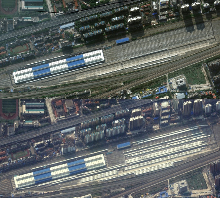 This combination of pictures created on March 5, 2020 using handout images released on March 5, 2020 by Maxar Technologies shows Wuhan Dongdamen Train Station in Wuhan, China, on October 17, 2019 (top) and on February 25, 2020, with trains parked in the station, during the novel coronavirus outbreak.