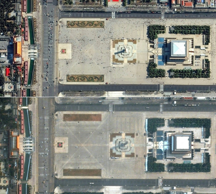 This combination of pictures created on March 5, 2020 using handout images released on March 5, 2020 by Maxar Technologies shows pedestrians and cars in Tiananmen Square in Beijing, China, on February 21, 2019 (top) and an almost empty square on February 11, 2020, during the novel coronavirus outbreak.