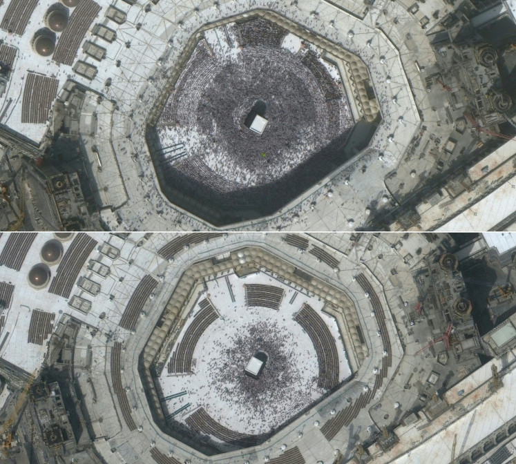 This combination of pictures created on March 5, 2020 using handout images released on March 5, 2020 by Maxar Technologies shows a crowd at Mecca's Grand Mosque and the Kaaba on February 14, 2020 (top) and a much smaller group of visitors on March 3, 2020, a day before fears over the novel coronavirus led to the suspension of the