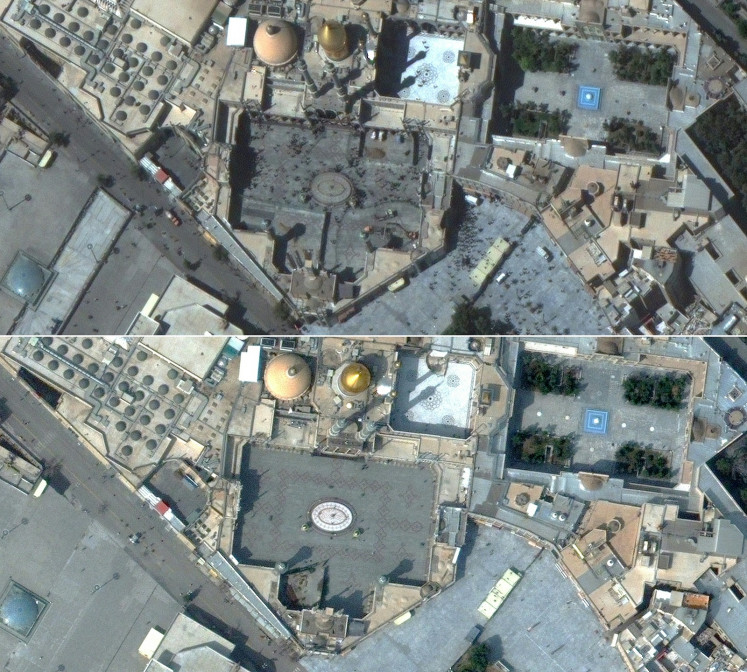 This combination of pictures created on March 5, 2020 using handout satellite images released on March 5, 2020 by Maxar Technologies shows people in the courtyard of Hazrat Masumeh Shrine in Qom, Iran on September 25, 2019 (top) and a nearly empty courtyard on March 1, 2020, during the coronavirus outbreak.