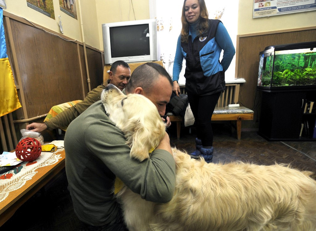 Therapy dogs bring respite to Ukraine war veterans