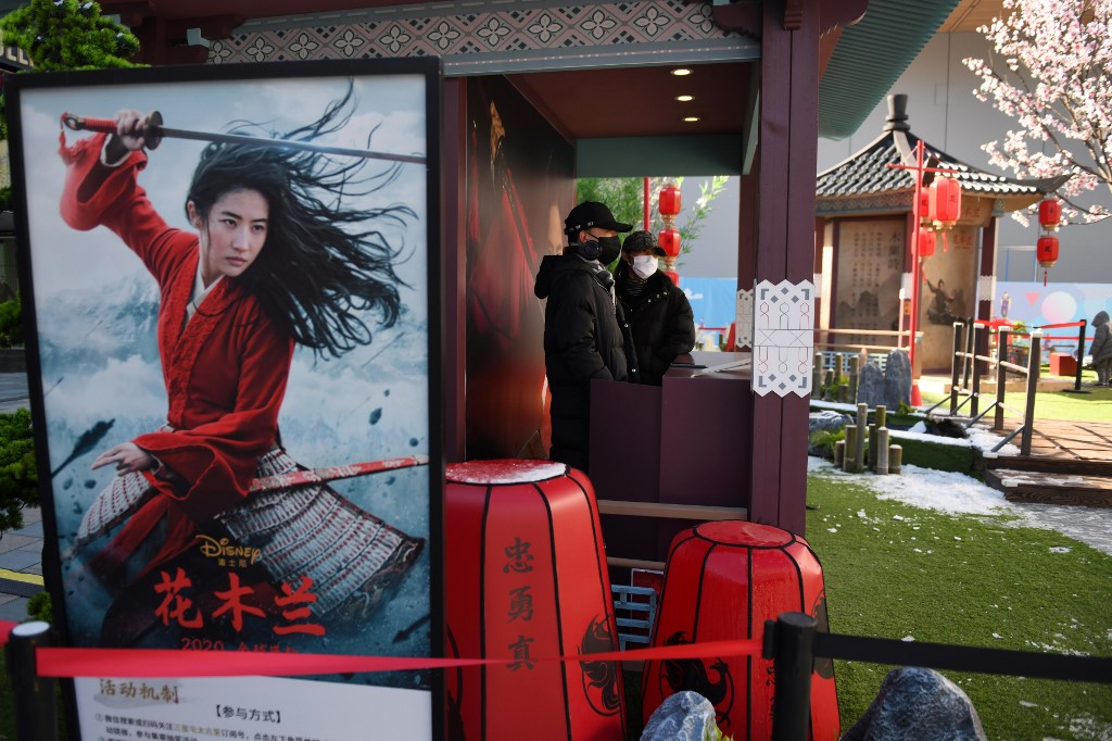 French cinema owner smashes Mulan poster after Disney decides not to screen it in cinemas