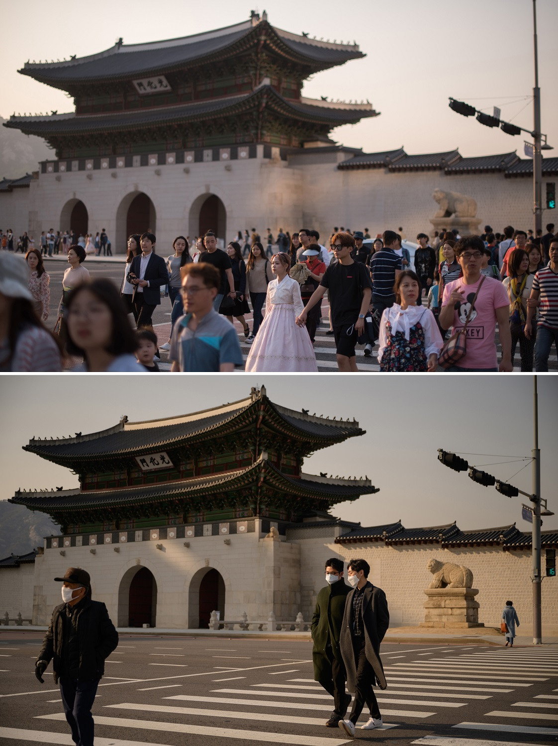 This combination photo created on March 6, 2020 shows pedestrians crossing a street outside the Gyeongbokgung palace in Seoul on May 3, 2017 (top) and on March 6, 2020.