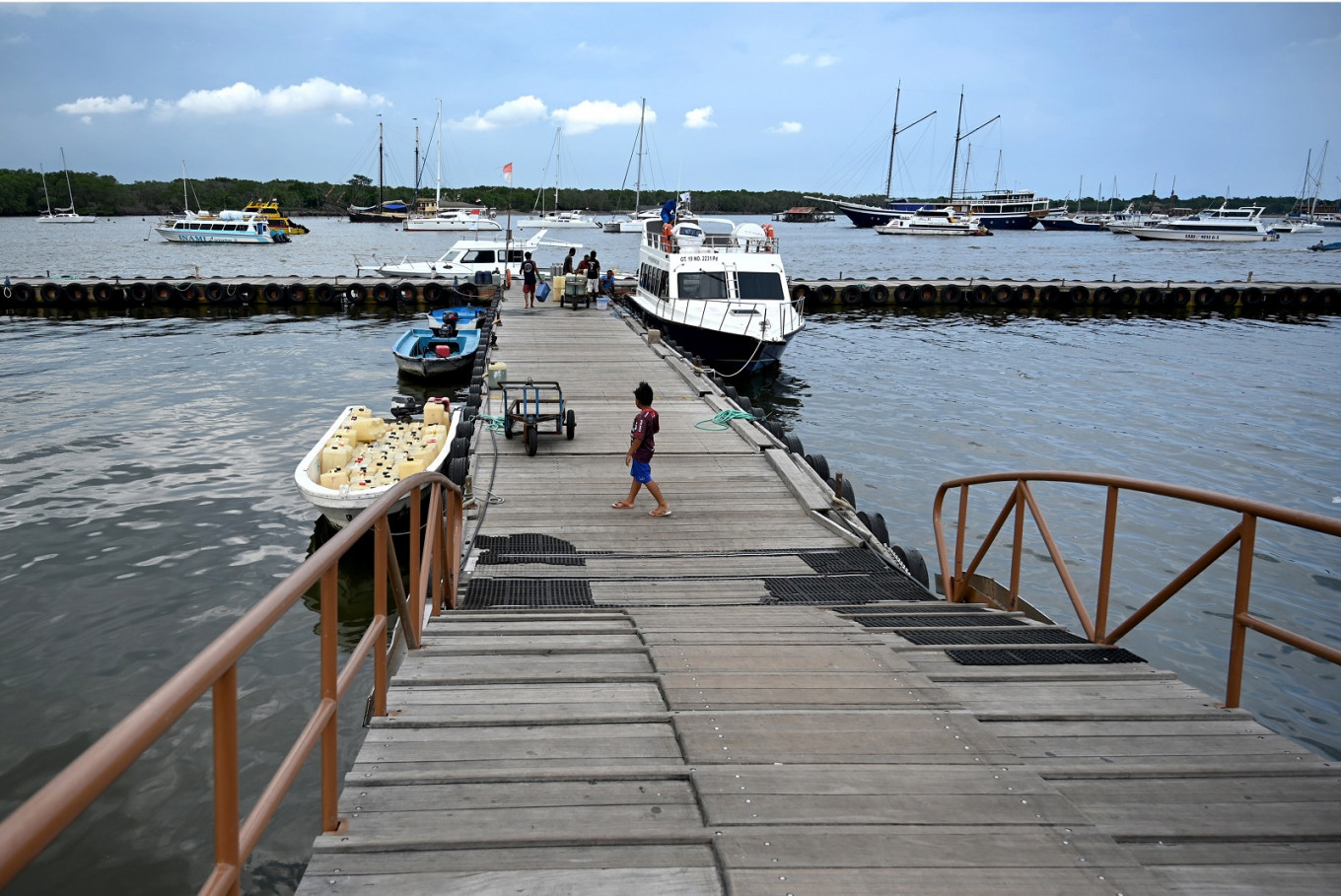 A general view shows a pier in Denpasar on Indonesia's resort island of Bali on March 8, 2020, from which fast boats travel to Nusa Penida island.