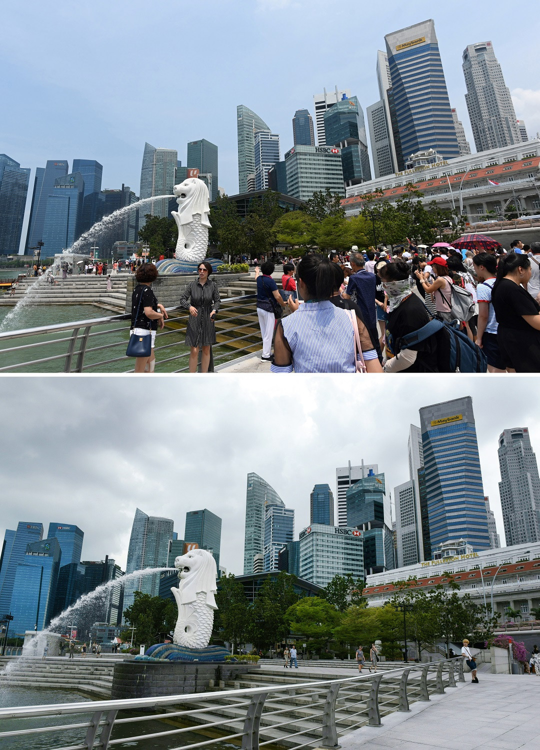 This combination photo created on March 6, 2020 shows visitors at the Merlion park in Singapore on August 13, 2019 (top) and on March 6, 2020.