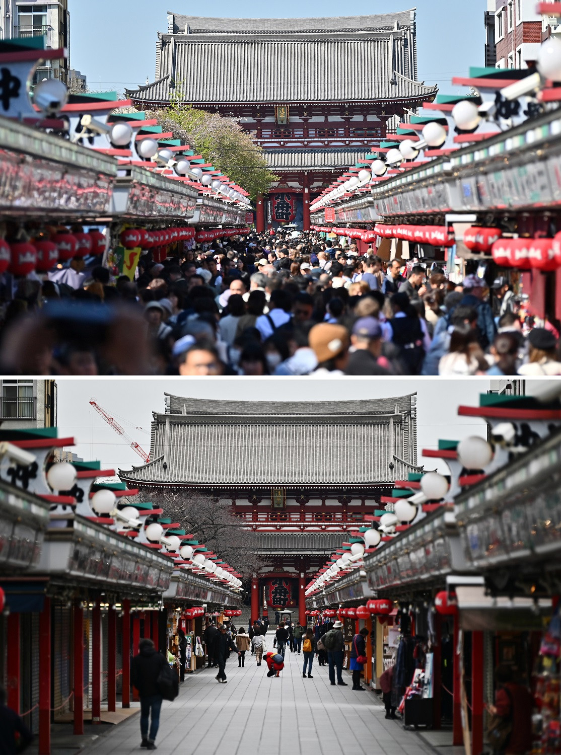 This combination photo created on March 9, 2020 shows people visiting Sensoji temple in Tokyo's Asakusa district on April 16, 2019 (top) and on March 9, 2020.