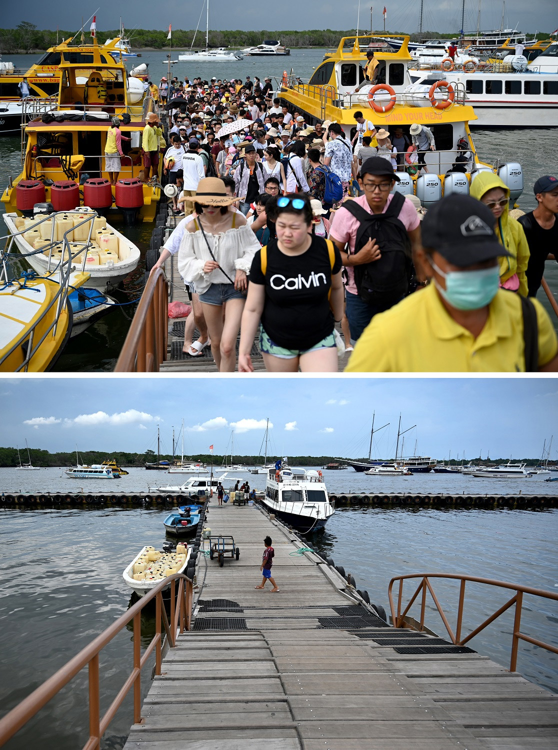 This combination photo created on March 8, 2020 shows Chinese tourists arriving from Nusa Penida in Denpasar on Indonesia's resort island of Bali on January 26, 2020 (top) and a general view of the same pier on March 8, 2020.