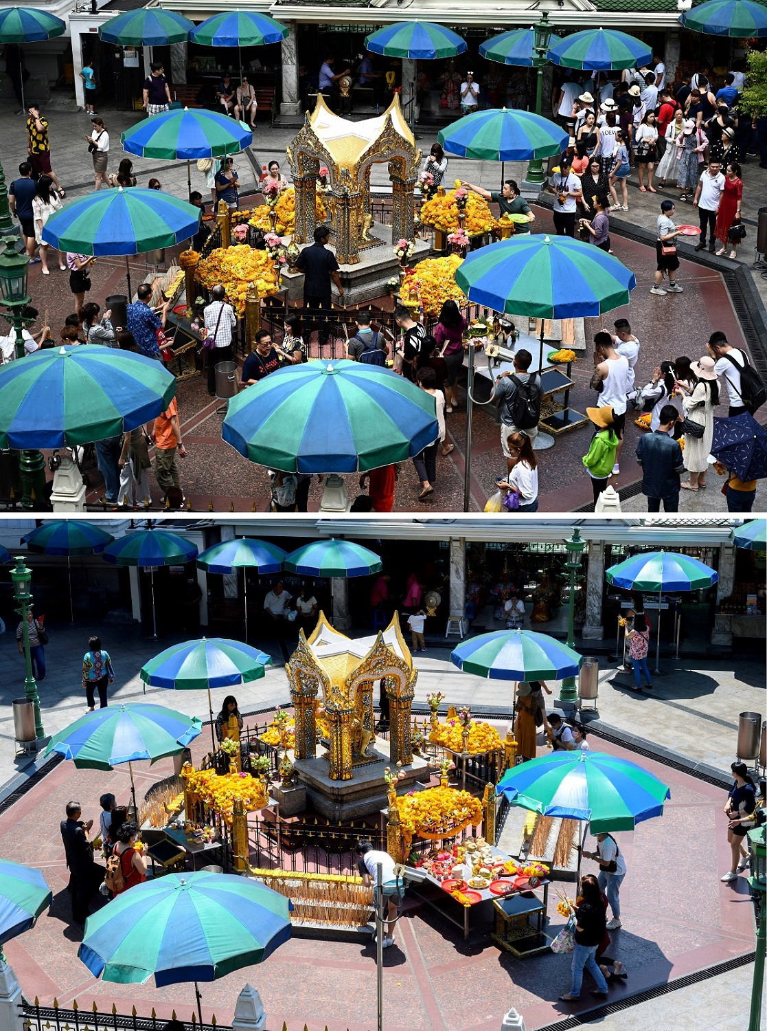This combination photo created on March 6, 2020 shows devotees offering prayers at Erawan shrine in Bangkok on July 9, 2019 (top) and on March 6, 2020.