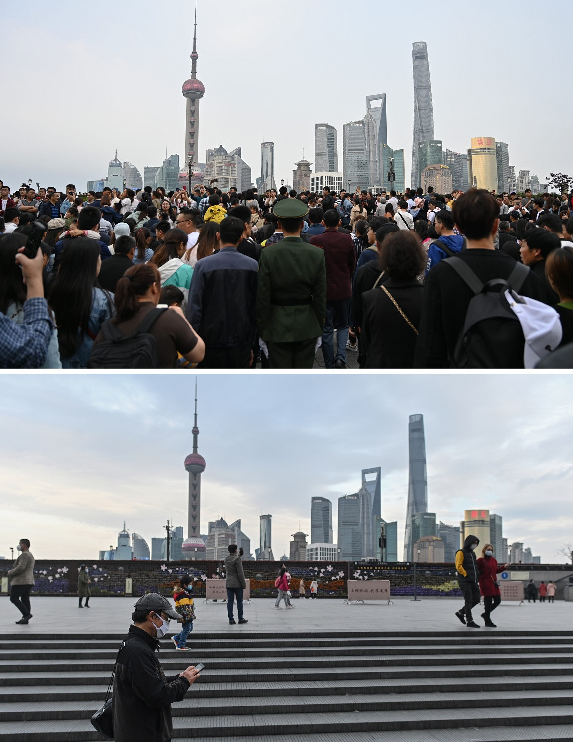This combination photo created on March 8, 2020 shows people visiting the promenade on the Bund along the Huangpu River during the May Day holiday in Shanghai on May 1, 2019 (top) and people wearing facemasks, amid concerns of the COVID-19 novel coronavirus, along the Bund in Shanghai on March 8, 2020.