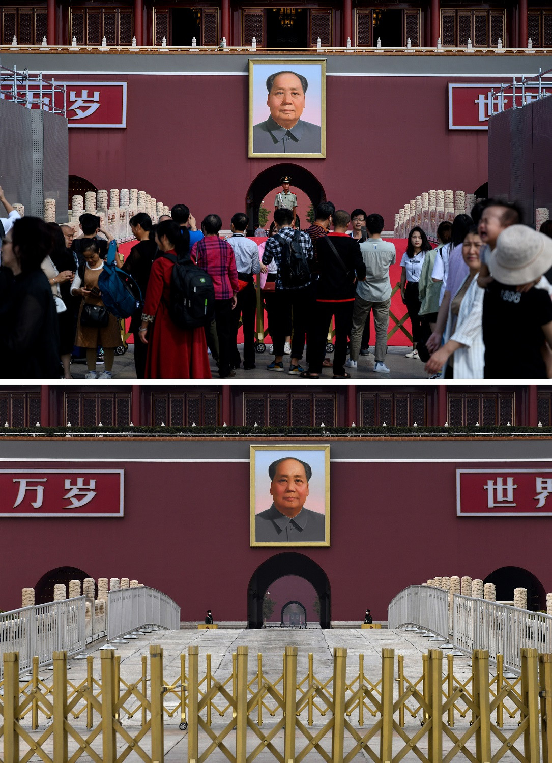 This combination photo created on March 8, 2020 shows tourists standing before a Chinese paramilitary policeman (C) in front of a portrait of late communist leader Mao Zedong at Tiananmen Gate in Beijing on September 20, 2019 (top) and paramilitary police officers wearing facemasks, amid concerns about the spread of the COVID-19 novel coronavirus, at Tiananmen Gate in Beijing on March 6, 2020.