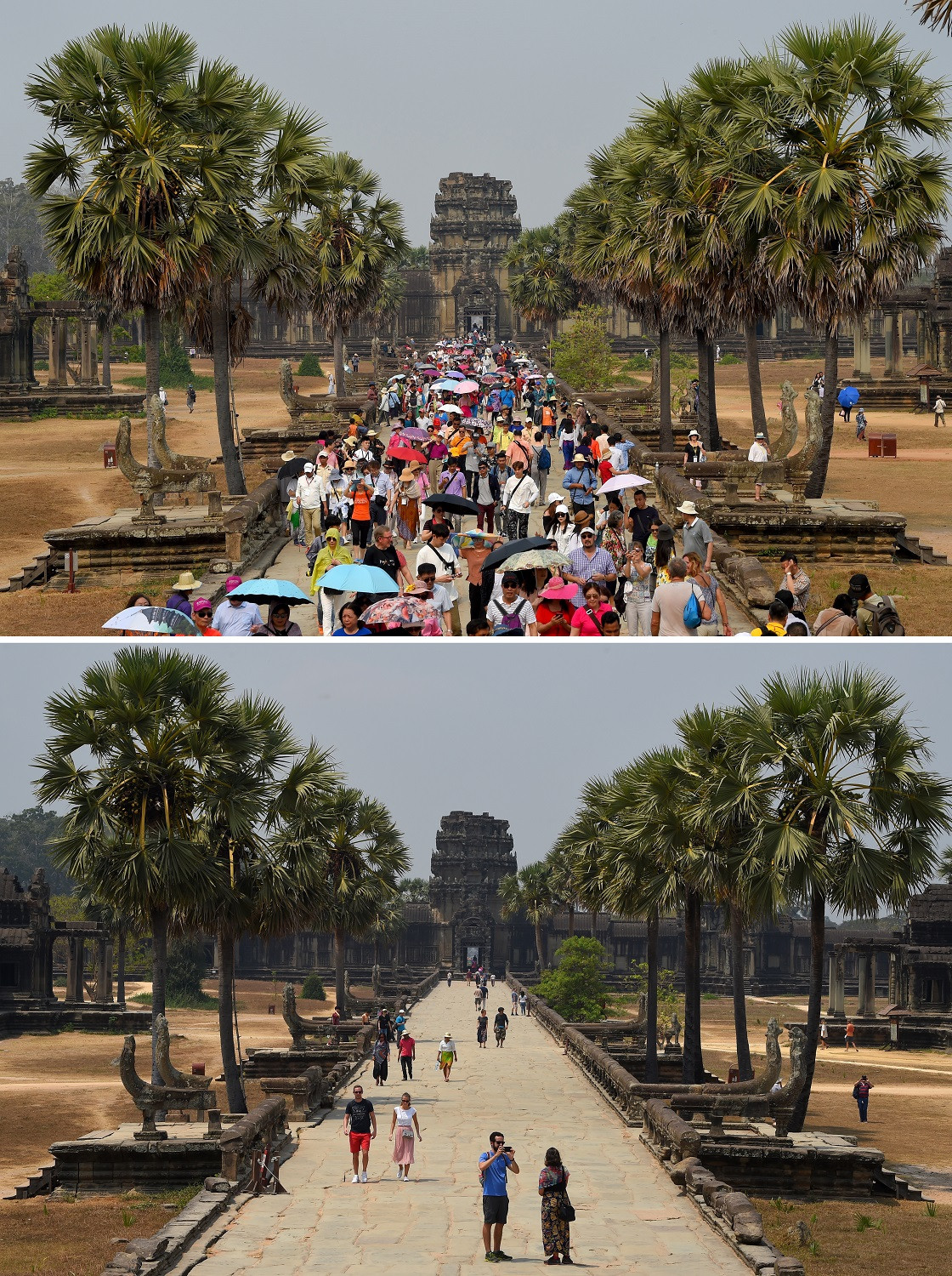 This combination photo created on March 5, 2020 shows tourists visiting Angkor Wat temple in Siem Reap province on March 16, 2019 (top) and on March 5, 2020.