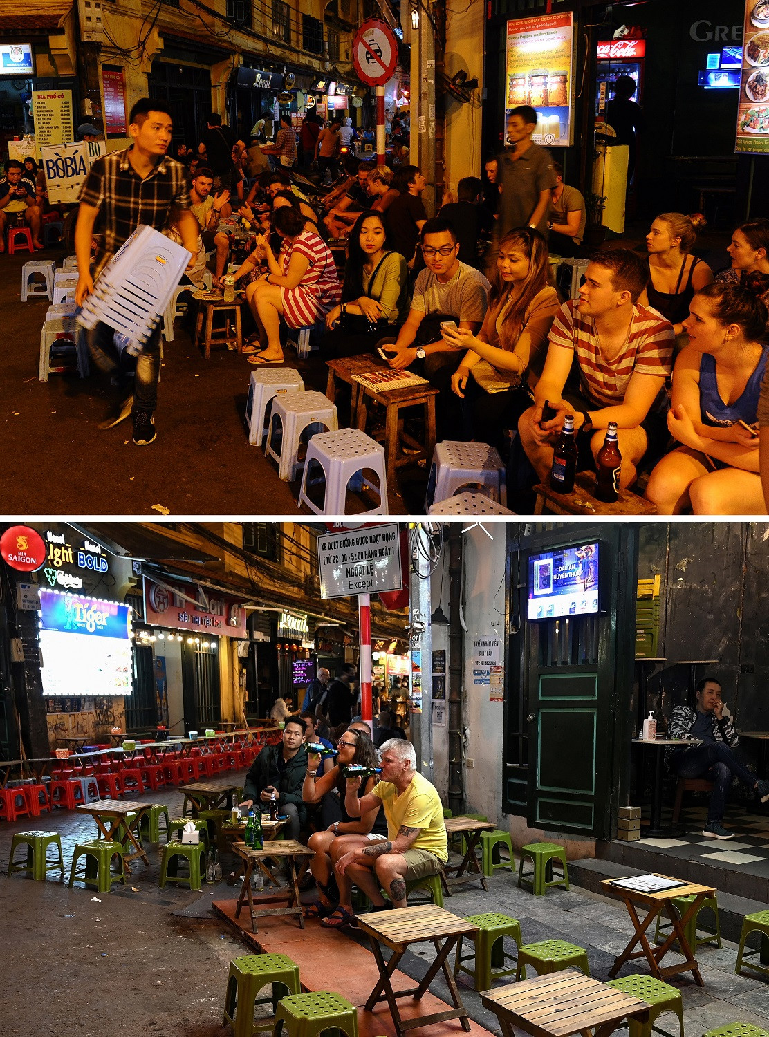 This combination photo created on March 8, 2020 shows tourists and locals enjoying drinks and food on tables set up on the pavement in the old quarter of Hanoi on November 24, 2015 (top) and people drinking in the same area in Hanoi on March 7, 2020.