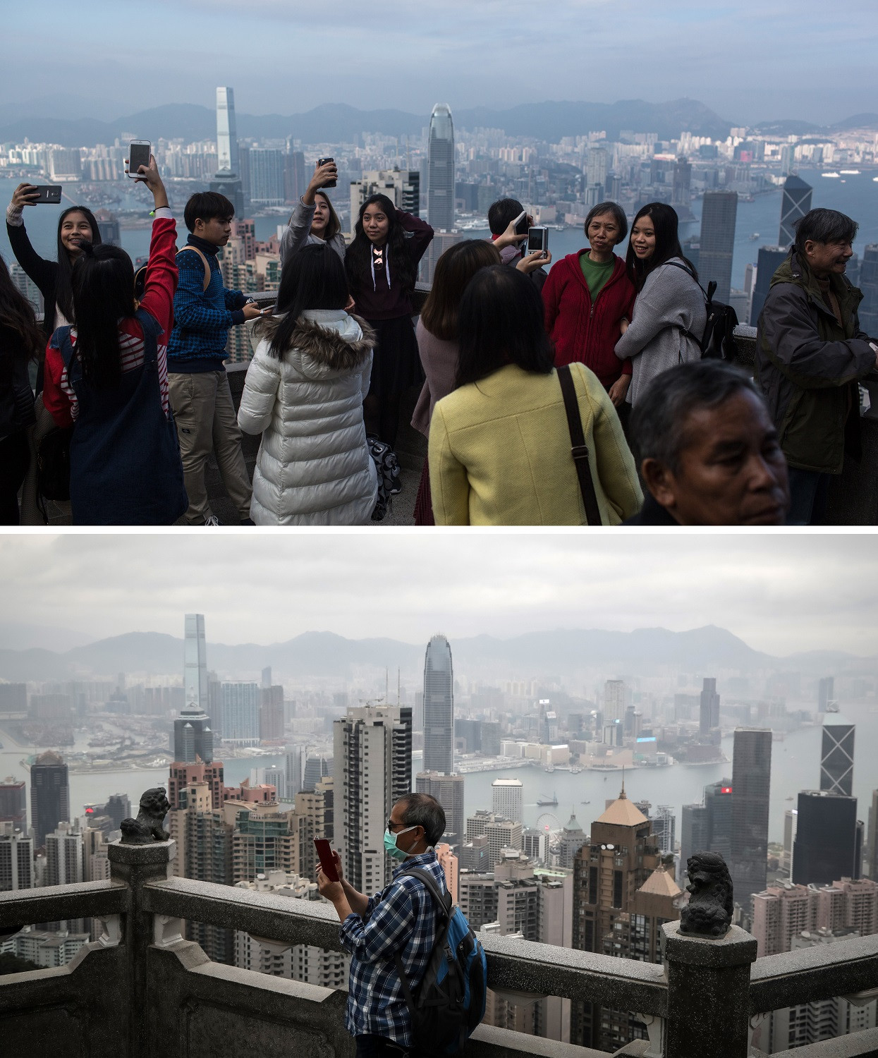 This combination photo created on March 8, 2020 shows tourists taking pictures at the Peak in Hong Kong on December 26, 2015 (top) and a man wearing a facemask as a precautionary measure against the spread of the COVID-19 novel coronavirus at the same location on March 7, 2020.