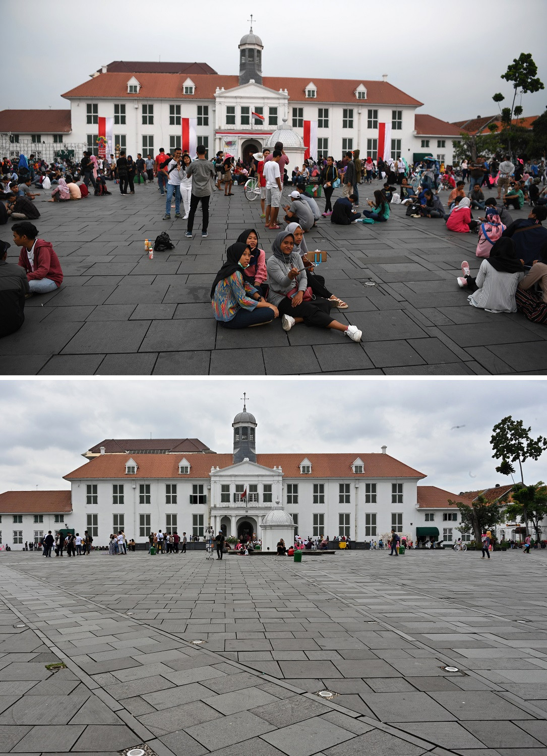 This combination photo created on March 8, 2020 shows tourists gathering outside the Jakarta History Museum in the Kota Tua area of Jakarta on August 18, 2018 (top) and on March 7, 2020.
