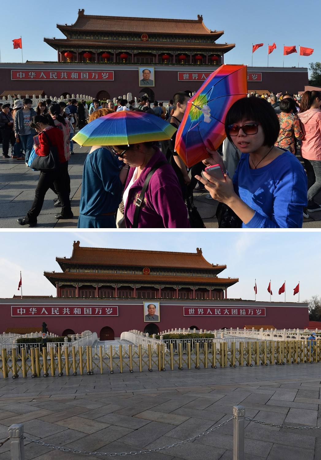 This combination photo created on March 8, 2020 shows tourists walking past a portrait of late communist leader Mao Zedong at Tiananmen Square in Beijing on April 29, 2013 (top) and a general view of the same area in Beijing on March 7, 2020.