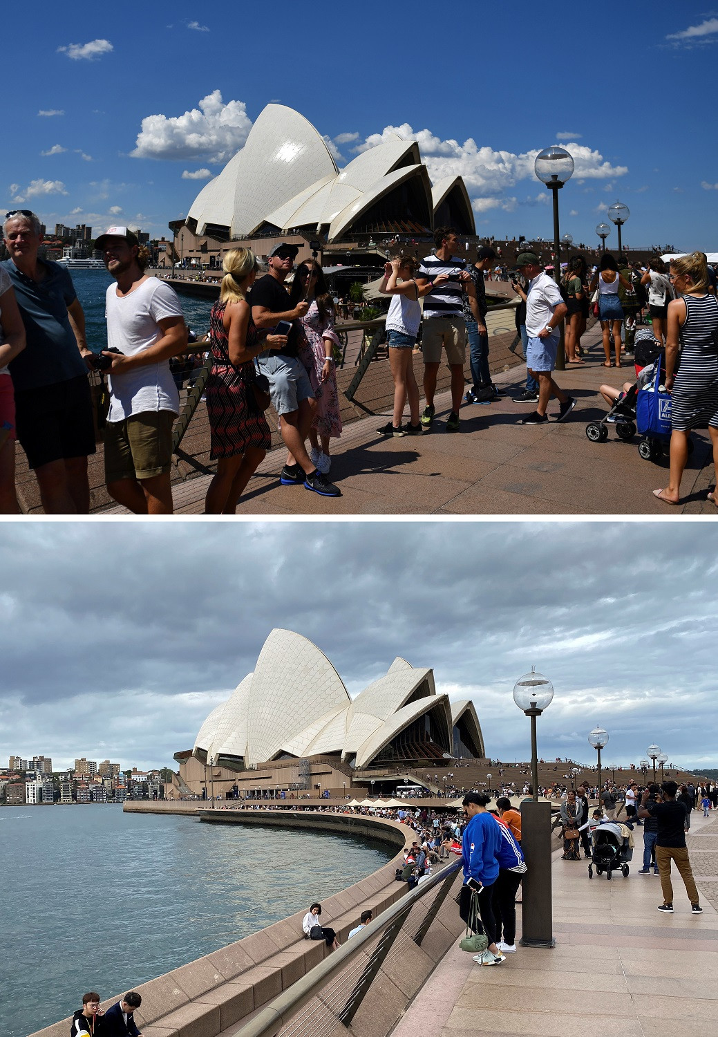 This combination photo created on March 8, 2020 shows people walking along Sydney Harbour, as the Sydney Opera House is seen in the background, in Sydney on December 30, 2017 (top) and on March 8, 2020.