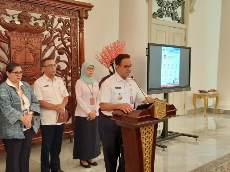 Jakarta Governor Anies Baswedan announces the postponement of the 2020 Jakarta E-Prix to further prevent the spread of the novel coronavirus (COVID-19) at the City Hall on Wednesday, March 11, 2020.