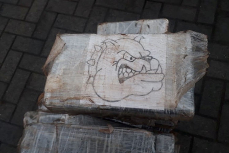 Part of the 158 kilograms of cocaine hidden inside the arm of a second-hand backhoe that was bound for the Belgian port of Antwerp and found by the Brazilian anti-narcotics authorities is pictured at the port of Santos, Sao Paulo state, Brazil, November 18, 2019.