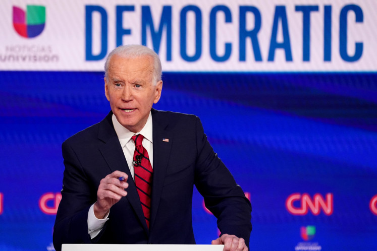 Democratic U.S. presidential candidate and former Vice President Joe Biden speaks during the 11th Democratic candidates debate of the 2020 U.S. presidential campaign, held in CNN's Washington studios without an audience because of the global coronavirus pandemic, in Washington, U.S., March 15, 2020.