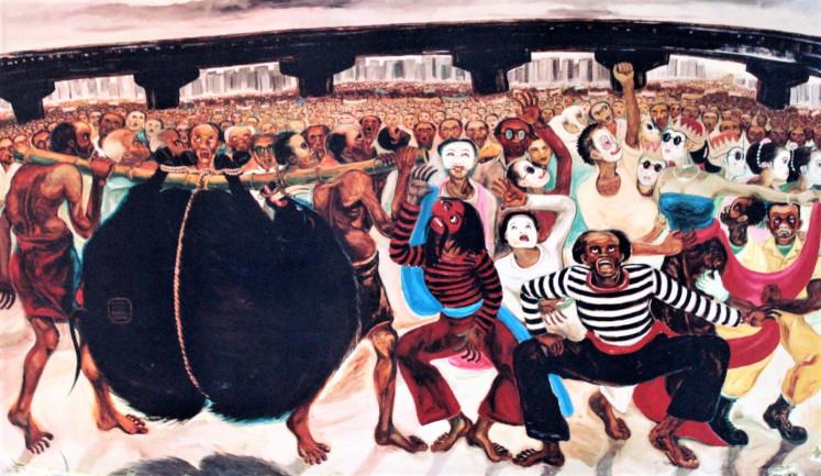 "Iconic art: Berburu Celeng (Boar Hunting) is the painting that earned Djoko Pekik the moniker, ""the one-billion-rupiah painter""."