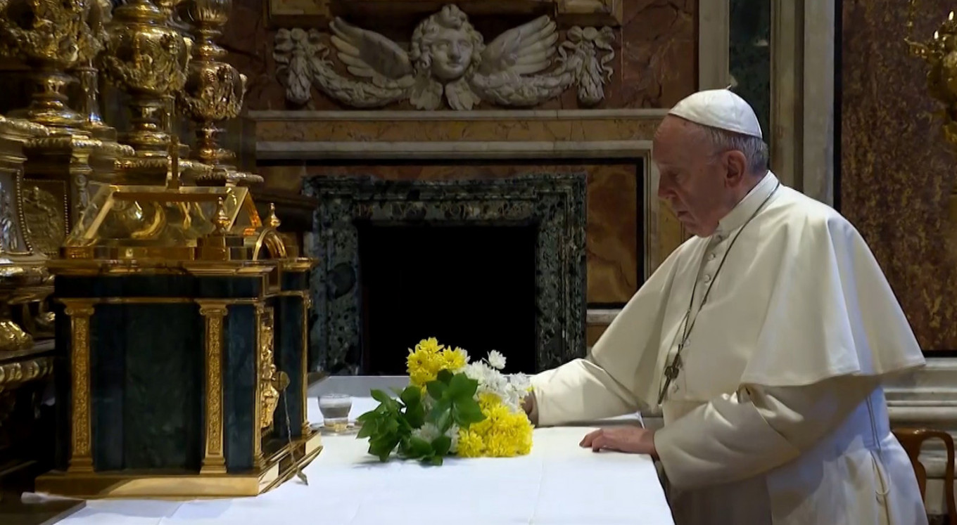 Pope prays at Great Plague church as Italy toll mounts