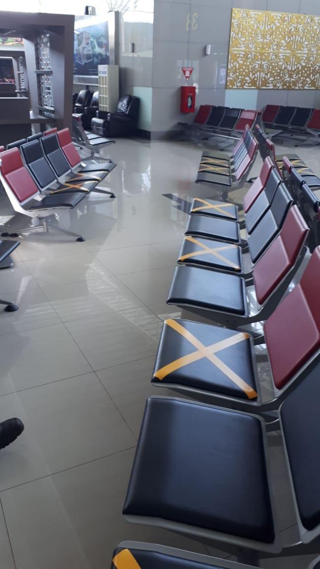 State airport operator Angkasa Pura II implements social distancing measures at Radin Inten II International Airport in Bandar Lampung.