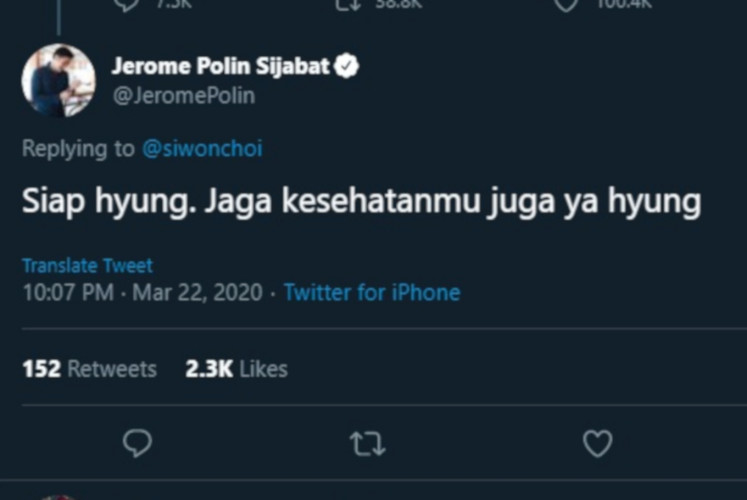 Jerome Polin Sijabat, an Indonesian student who' is currently studying in Japan, replies to Choi Si-won's tweet.