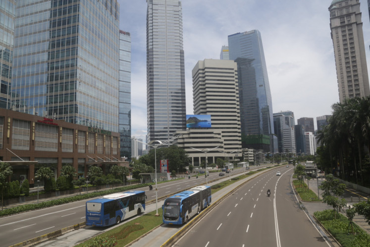 Empty traffic in the Thamrin area, Jakarta, on Thursday, March 22. 2020.