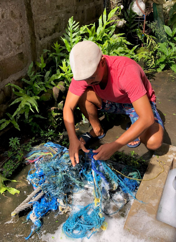 Work in progress: It takes the artist at least five times to wash the ropes to be used in his artwork.