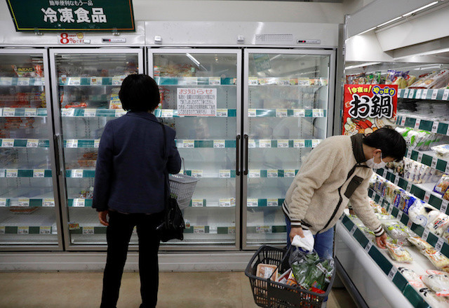 Panic-buying in Tokyo as residents asked to hunker down for weekend