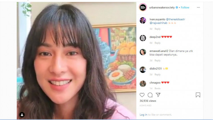Pumped up kicks: Actress Dian Sastrowardoyo joins the effort to raise funds to fight the pandemic by auctioning off her sneakers and running shoes.