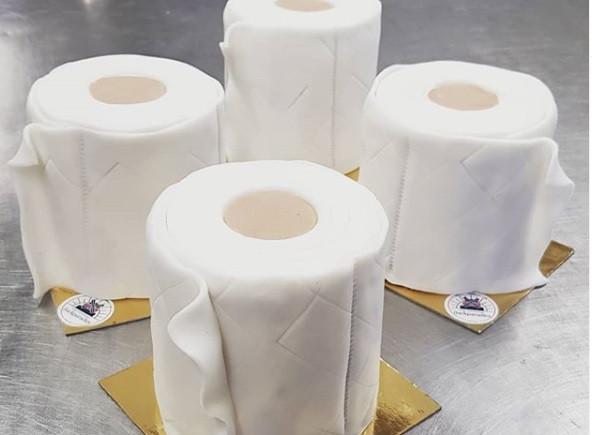 Latest trend in quarantine stress baking? Toilet paper cake