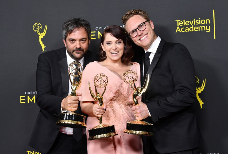 Adam Schlesinger (left), Rachel Bloom (center) and Jack Dolgen (right) pose with the Outstanding Original Music and Lyrics Award for 'Crazy Ex-Girlfriend' in the press room during the 2019 Creative Arts Emmy Awards on September 14, 2019 in Los Angeles, California.