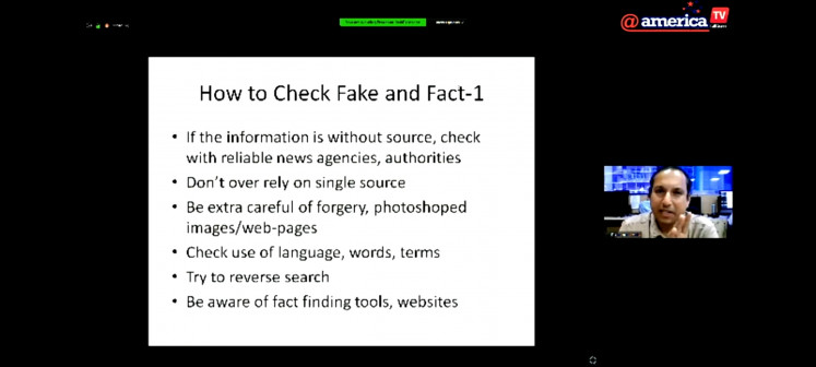 Fact-checking 101: Senior producer and anchor Prasanna Joshi (inset) of 'TV news channel ABP Majha' in Maharashtra, India, provides basic steps on how to sort fact from fiction during a virtual discussion to mark International Fact-Checking Day on April 2, 2020.
