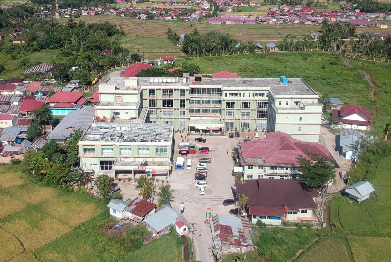 An aerial view of Dr. Rasidin Regional Hospital in Kuranji, Padang, West Sumatra, which has been designated as a COVID-19 referral hospital.  Antara/Iggoy el Fitra