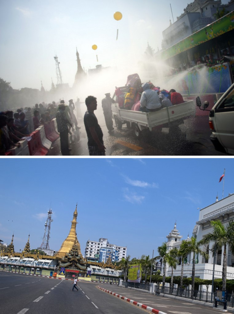 Silent streets for water festival in Myanmar lockdown