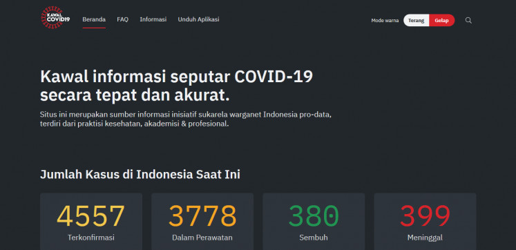 The front page of the Kawalcovid19.id website.