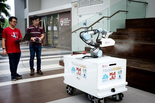 Singapore disinfecting robot trialed in virus fight