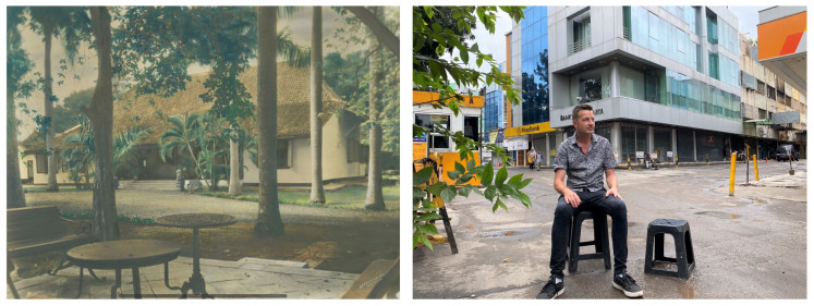 Then and now: The Tanah Abang Bukit house as seen in 1930, and the book's author sitting in the same spot in 2020.
