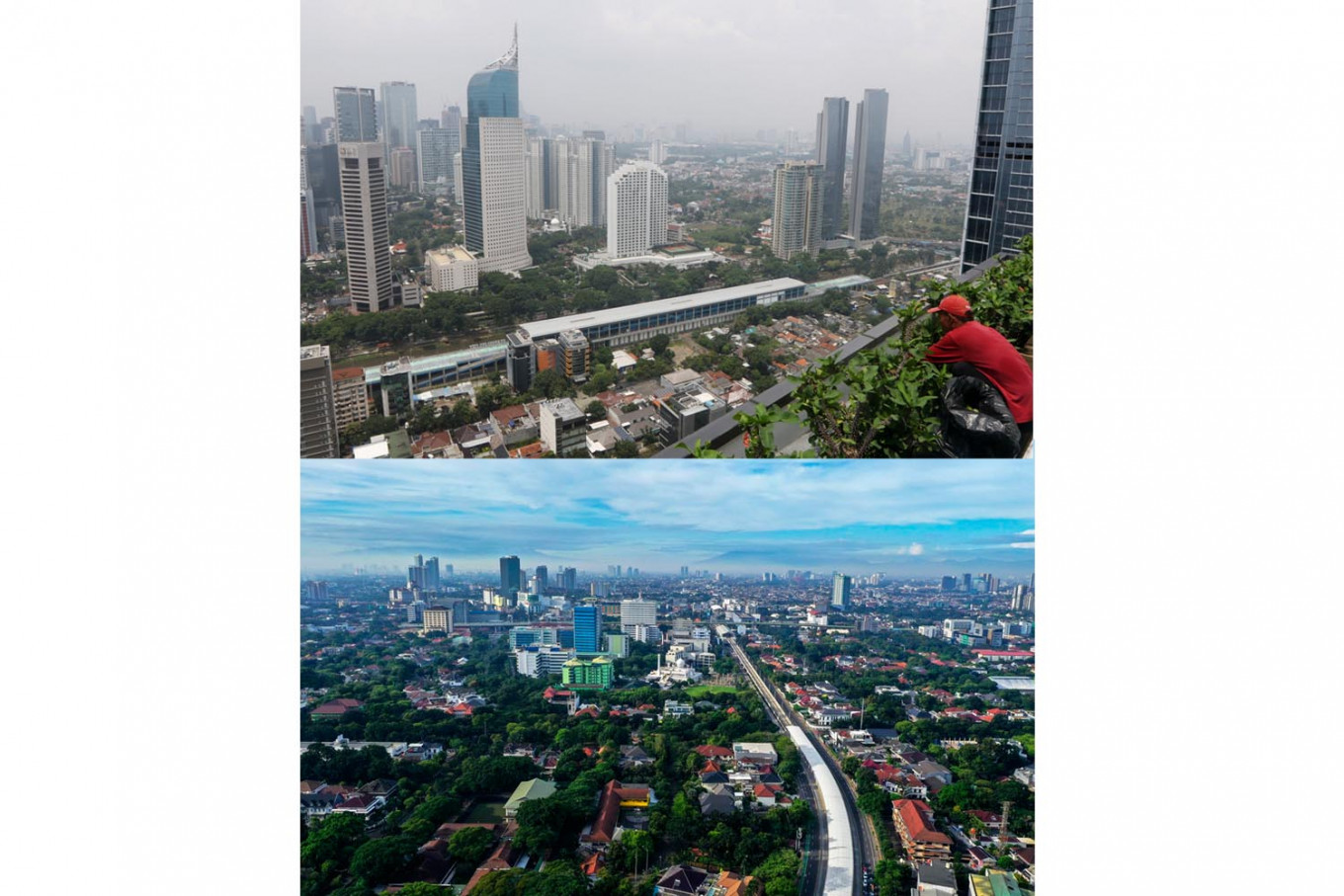 Cleaner air gives Jakartans rare view on nearby mountains