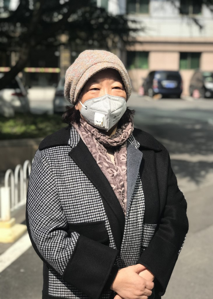 This photo taken on February 22, 2020 shows Chinese writer Fang Fang speaking with media in Wuhan, China's central Hubei province.